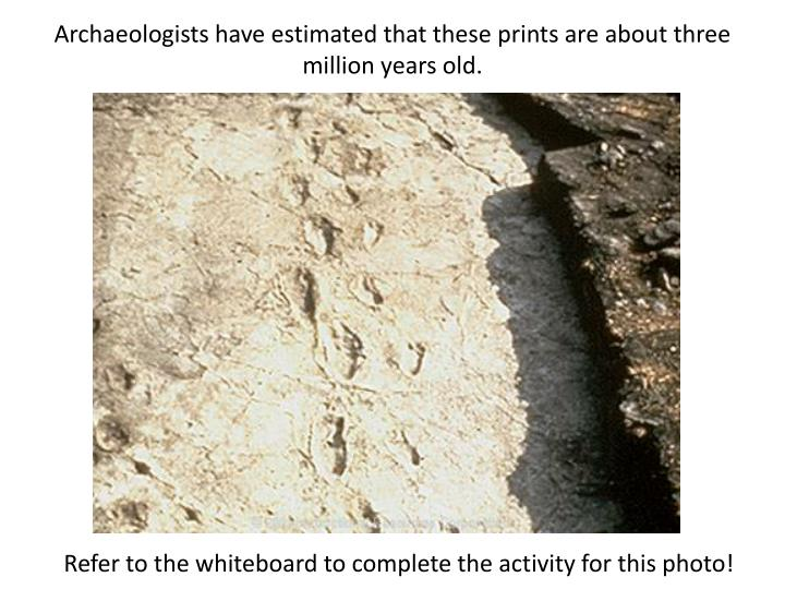 Archaeologists have estimated that these prints are about three million years old.