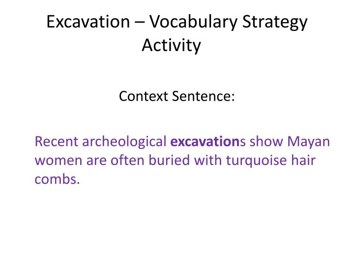 Excavation – Vocabulary Strategy Activity