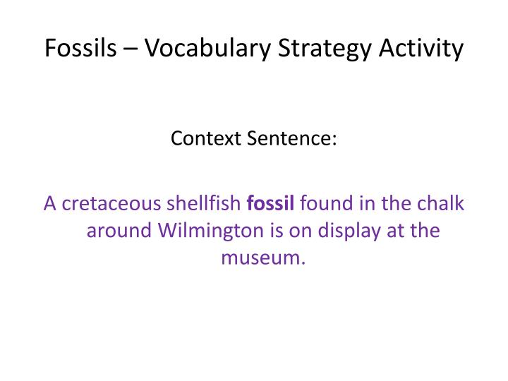 Fossils vocabulary strategy activity