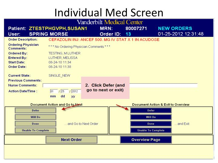 Individual med screen