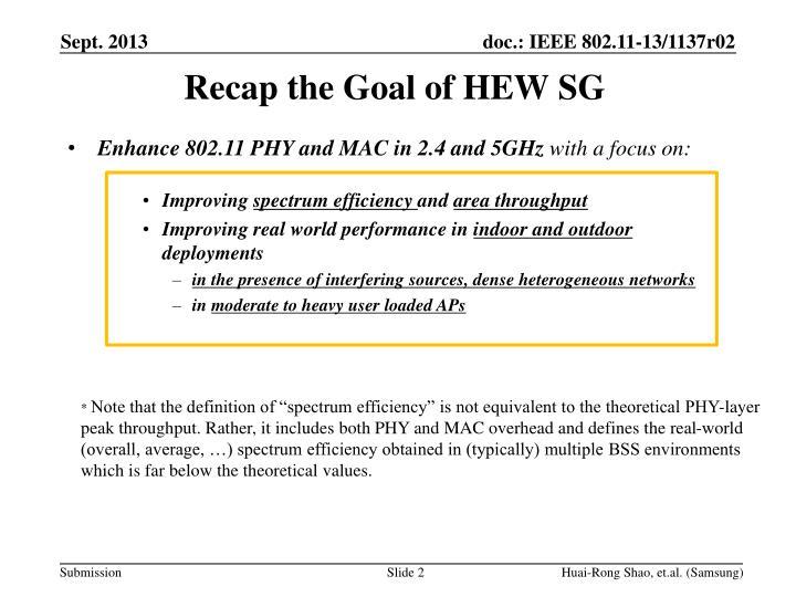 Recap the Goal of HEW SG