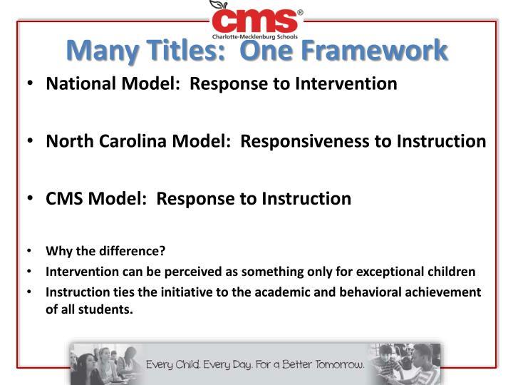 Many Titles:  One Framework