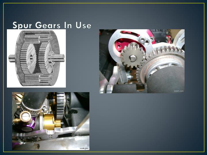 Spur gears in use