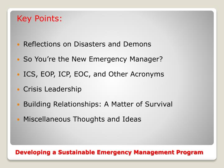 Developing a sustainable emergency management program1
