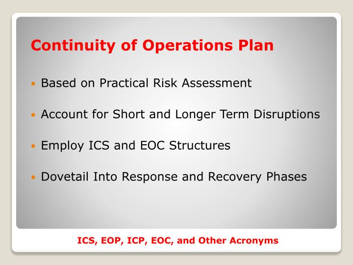 Continuity of Operations Plan