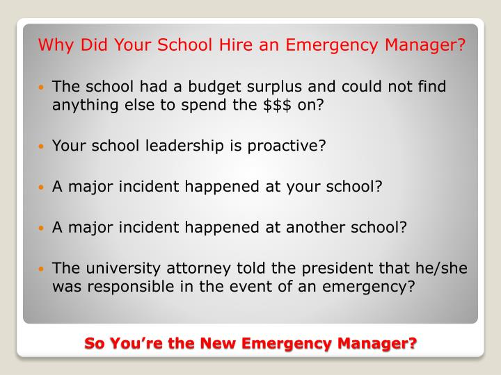 Why Did Your School Hire an Emergency Manager?