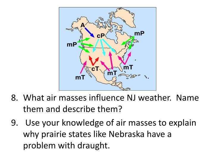 What air masses influence NJ weather.  Name them and describe them?