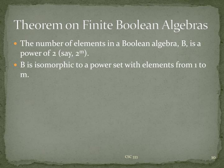 Theorem on Finite Boolean Algebras