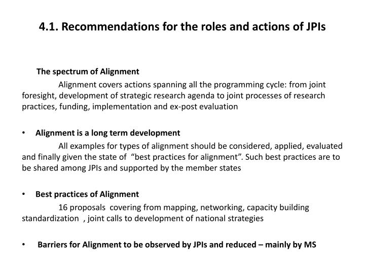 4.1. Recommendations for the roles and actions of JPIs