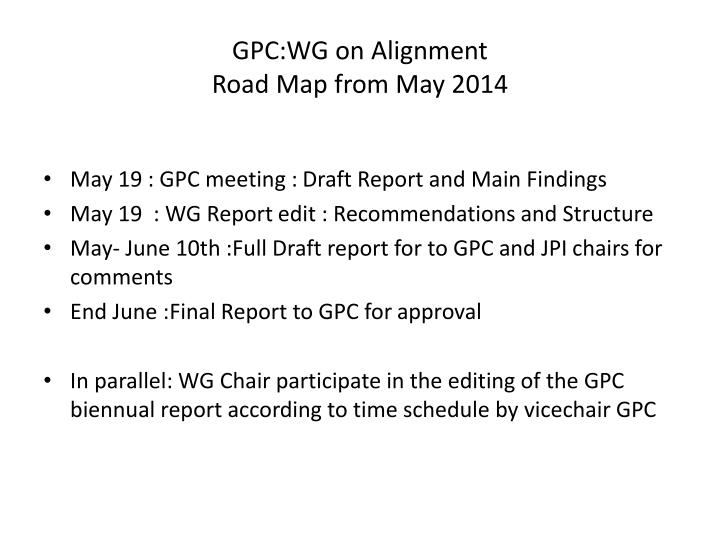 GPC:WG on