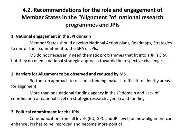"4.2. Recommendations for the role and engagement of Member States in the ""Alignment ""of  national research"