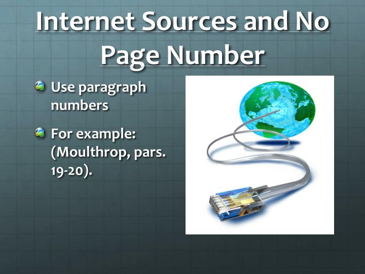 Internet Sources and No Page Number