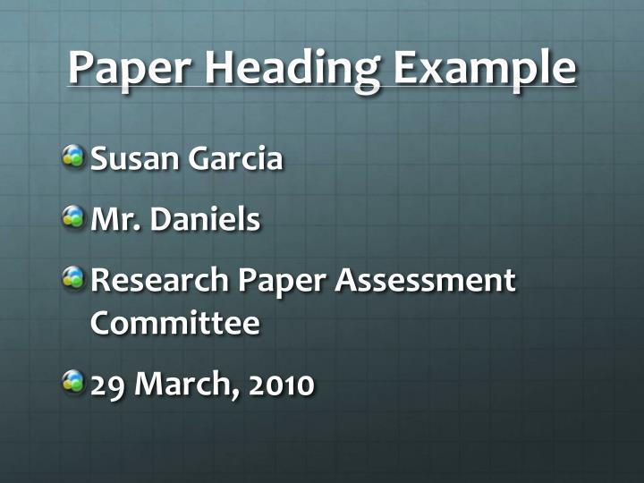 Paper Heading Example
