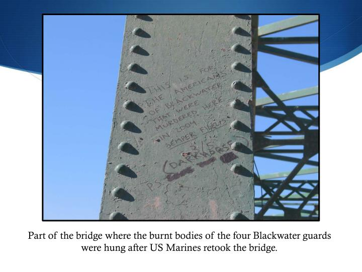 Part of the bridge where the burnt bodies of the four