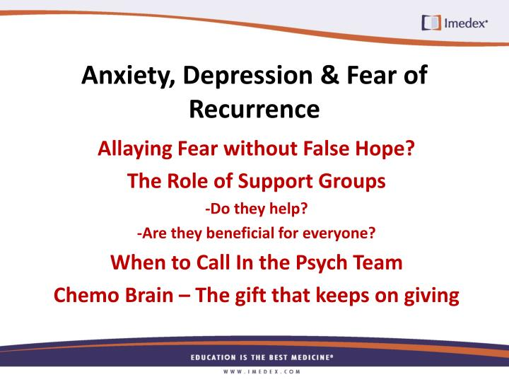 Anxiety, Depression & Fear of Recurrence
