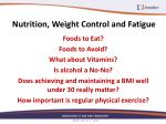 nutrition weight control and fatigue