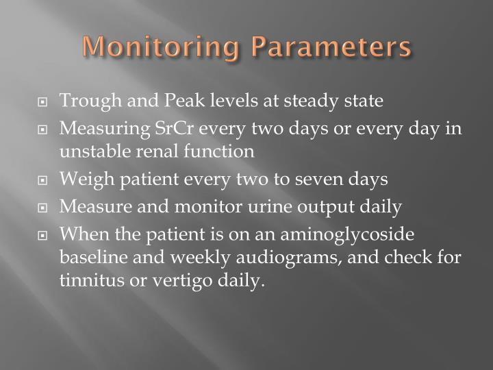 Monitoring Parameters