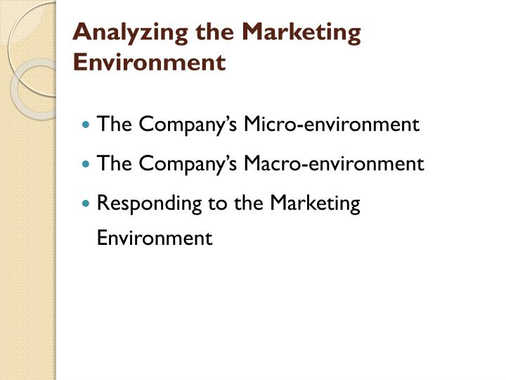 Analyzing the marketing environment1