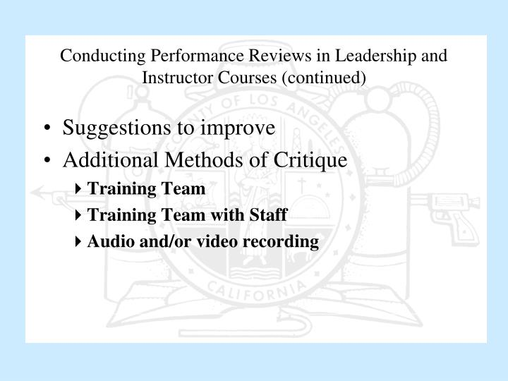 Conducting Performance Reviews in Leadership and Instructor Courses (continued)