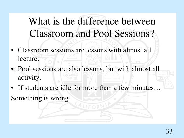 What is the difference between Classroom and Pool Sessions?
