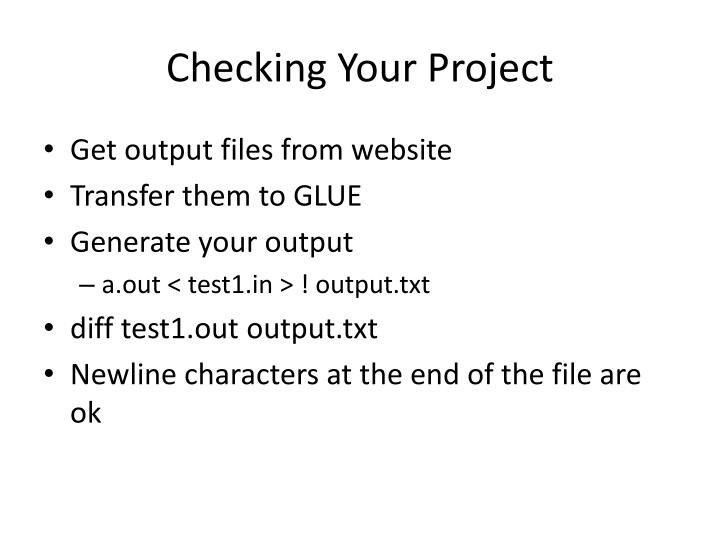 Checking Your Project