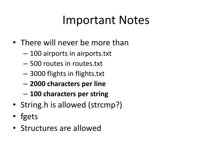 Important Notes