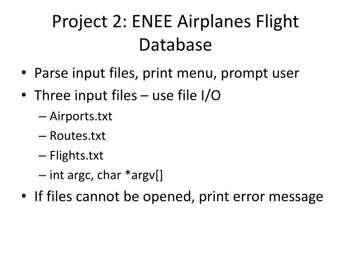 Project 2: ENEE Airplanes Flight Database