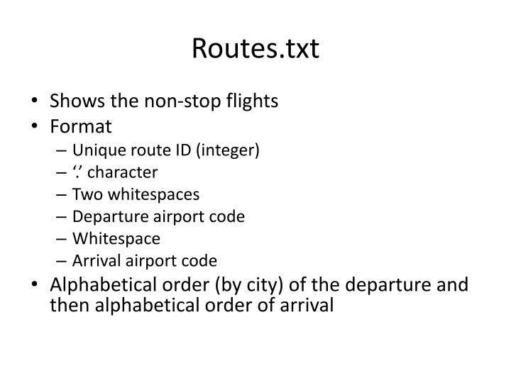 Routes.txt