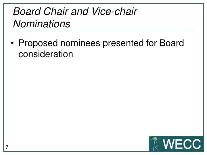 Board Chair and Vice-chair Nominations