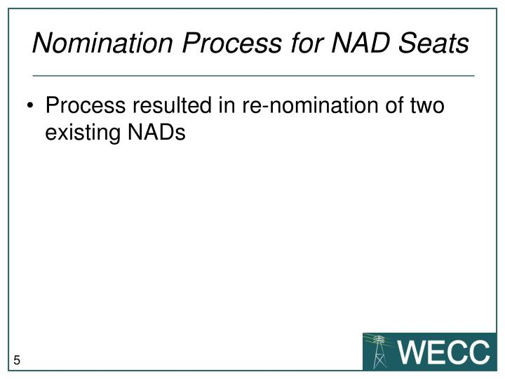 Nomination Process for NAD Seats