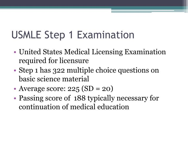 Usmle step 1 examination