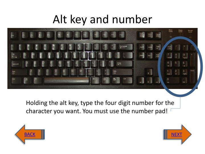 Alt key and number