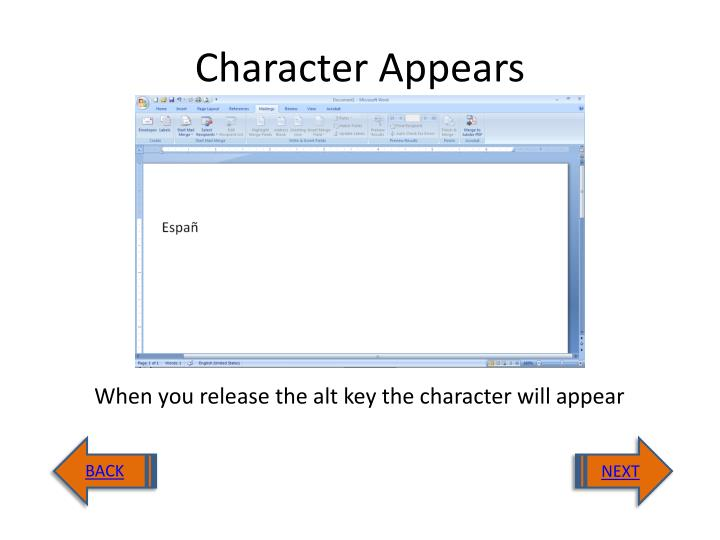 Character Appears