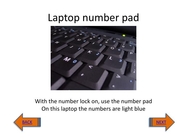 Laptop number pad