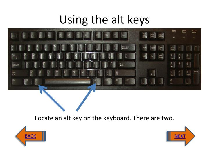 Using the alt keys