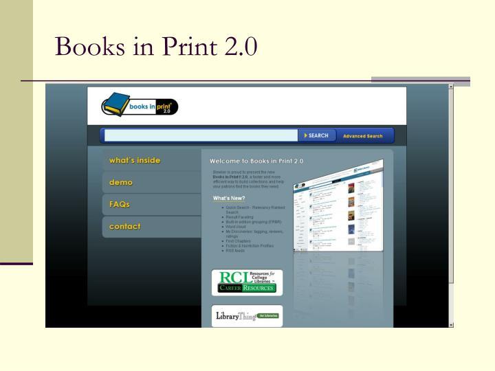 Books in Print 2.0