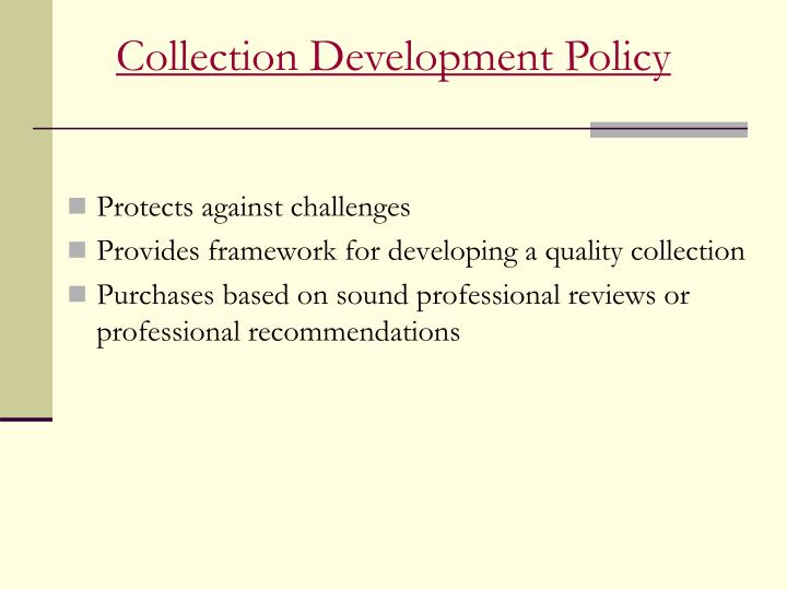 Collection Development Policy