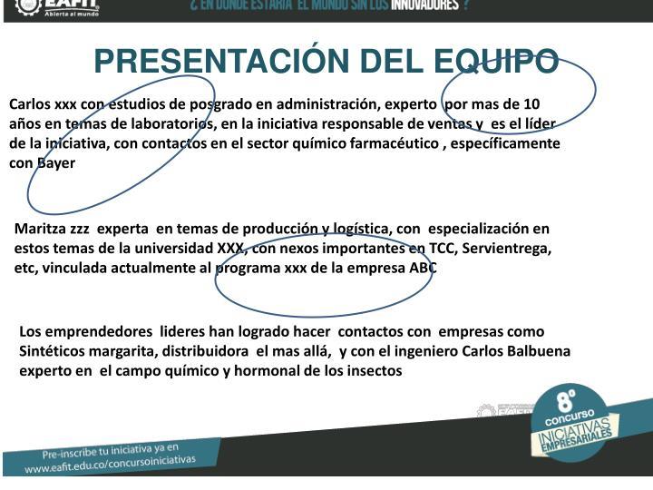 PRESENTACIÓN DEL EQUIPO