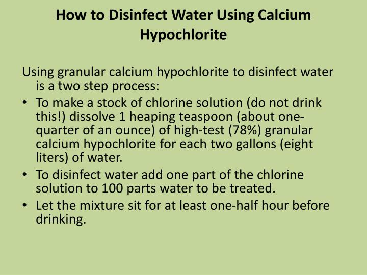 How to Disinfect Water Using Calcium Hypochlorite