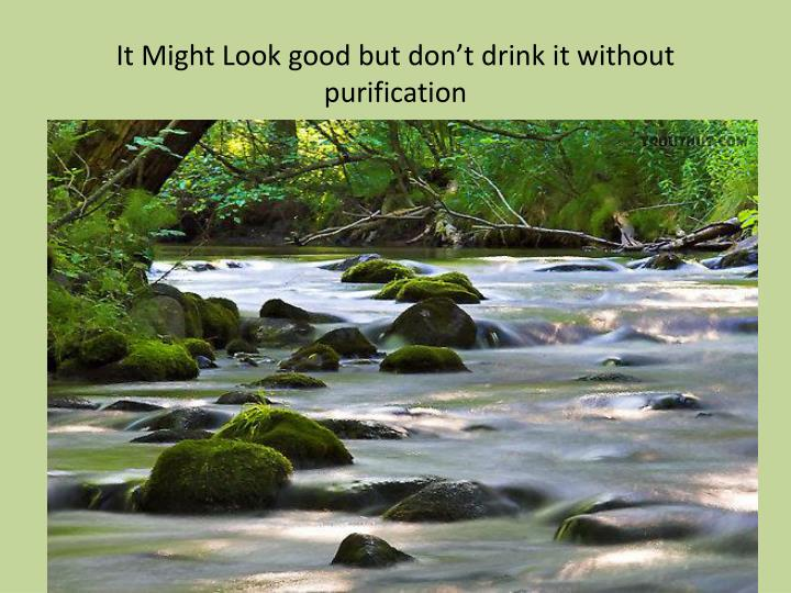 It Might Look good but don't drink it without purification