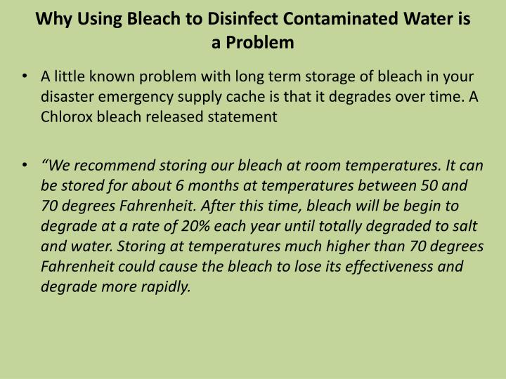 Why Using Bleach to Disinfect Contaminated Water is a Problem