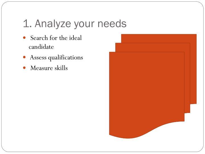 1. Analyze your needs