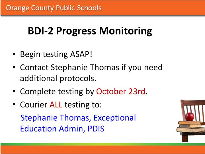 BDI-2 Progress Monitoring