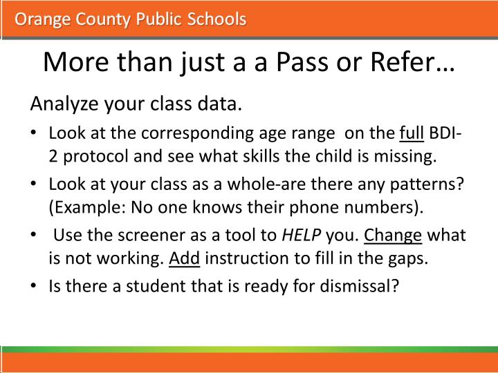 More than just a a Pass or Refer…