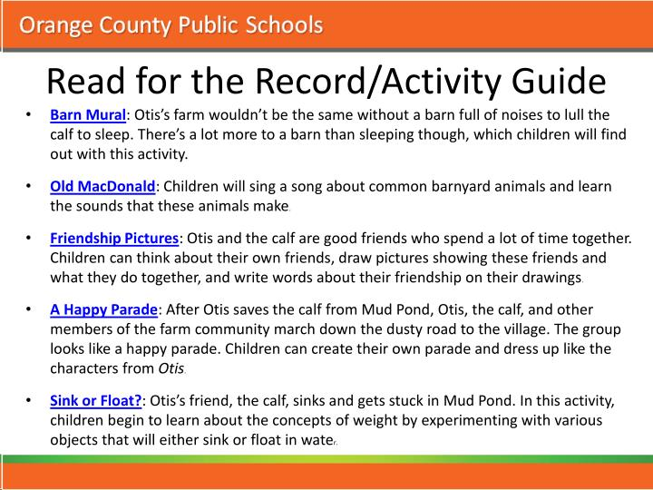 Read for the Record/Activity Guide