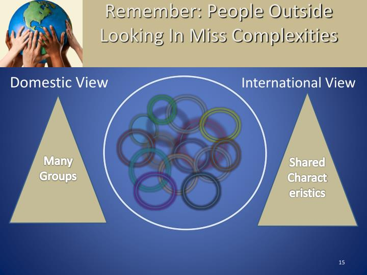 Remember: People Outside Looking In Miss Complexities