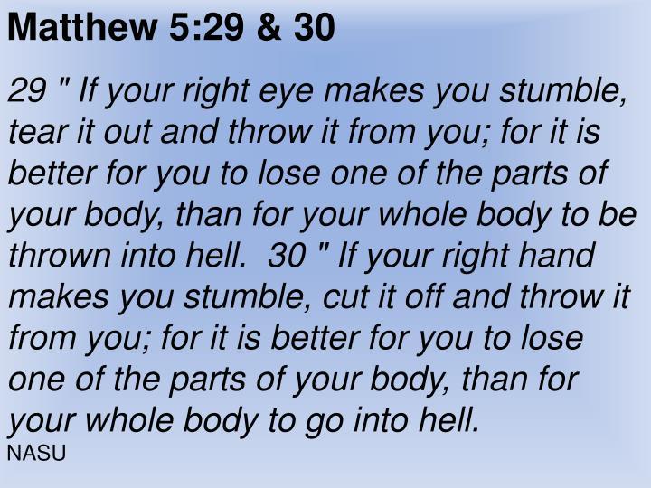 Matthew 5:29 & 30