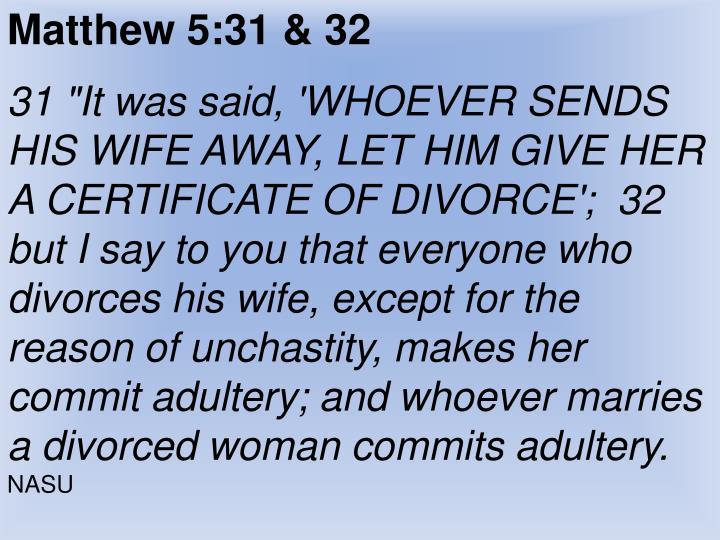 Matthew 5:31 & 32
