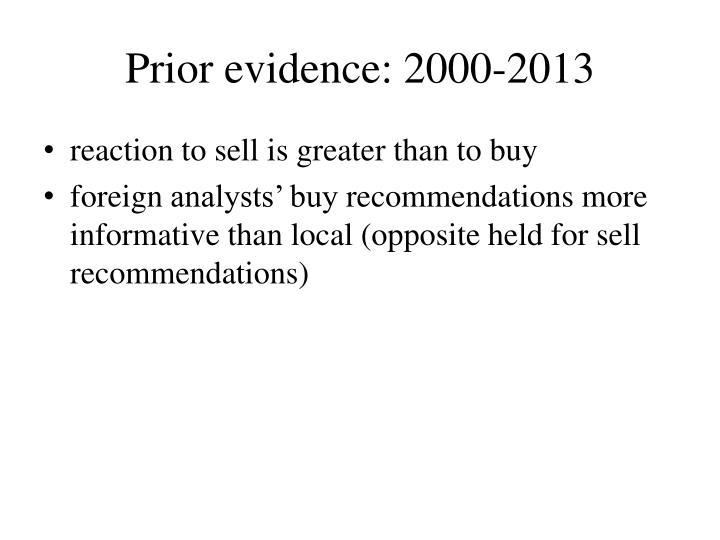 Prior evidence: 2000-2013