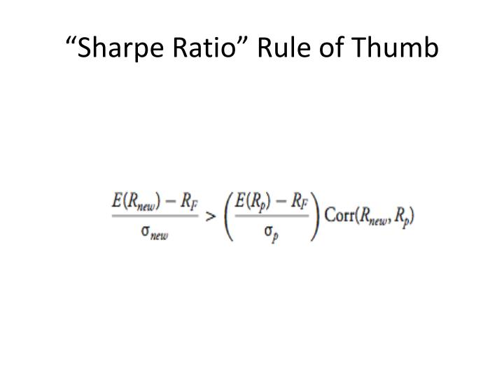 """Sharpe Ratio"" Rule of Thumb"